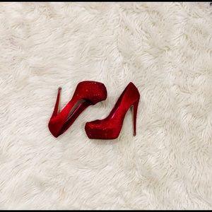 ALDO red gem heels